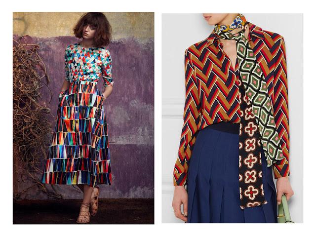Сочетание юбки и топа с геометрическими абстрактными принтами