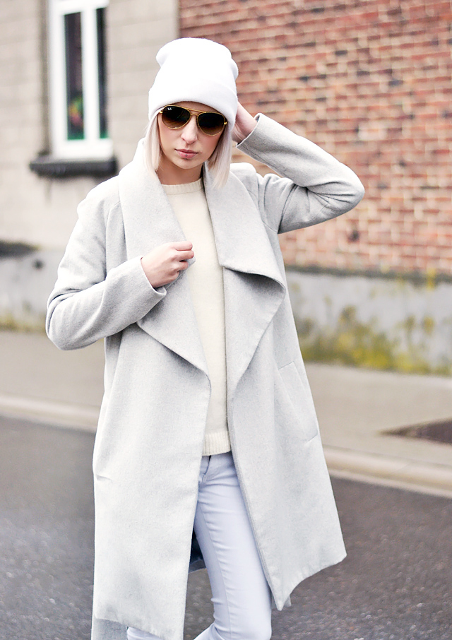 Outfit , streetstyle, all white, mango lapel coat, inspiration, rayban, wool