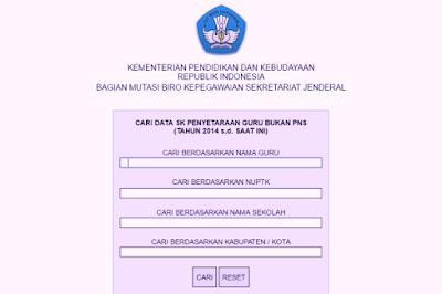 Laman untuk mencari informasi SK Penyetaraan dan SK Inpassing bagi guru non PNS