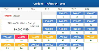 Giá vé máy bay Hồ Chí Minh đi Đà Lạt tháng 4