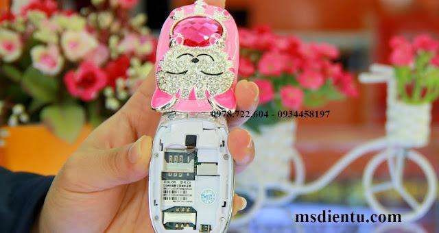 Điện thoại mèo đính đá màu hồng