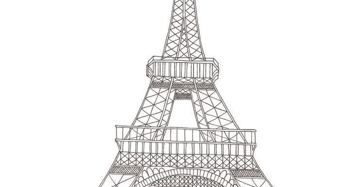 Dessins et Coloriages: Page de coloriage grand format à imprimer : la Tour Eiffel avec quelques ...
