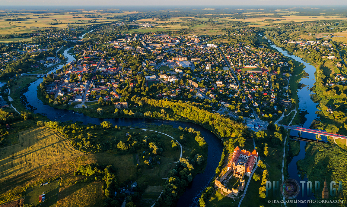 Bauska town aerial view with Bauska castle in forefront