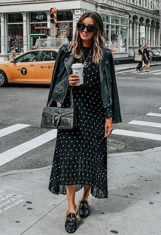 black on black   moto jacket + bag + printed maxi dress + loafers