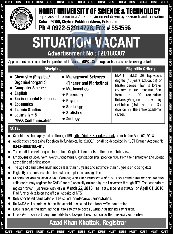 Kohat University of Science and Technology KUST Jobs 2018
