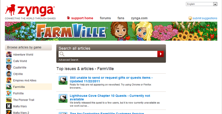 SUPPORT BUTTON Returns to Facebook FarmVille | Farmville Dirt Farmer