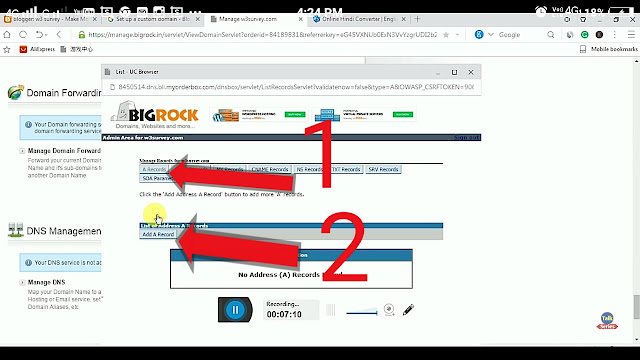 Bigrock,Domain,Bigrock domain,blogger,setup domain to blogger,A records