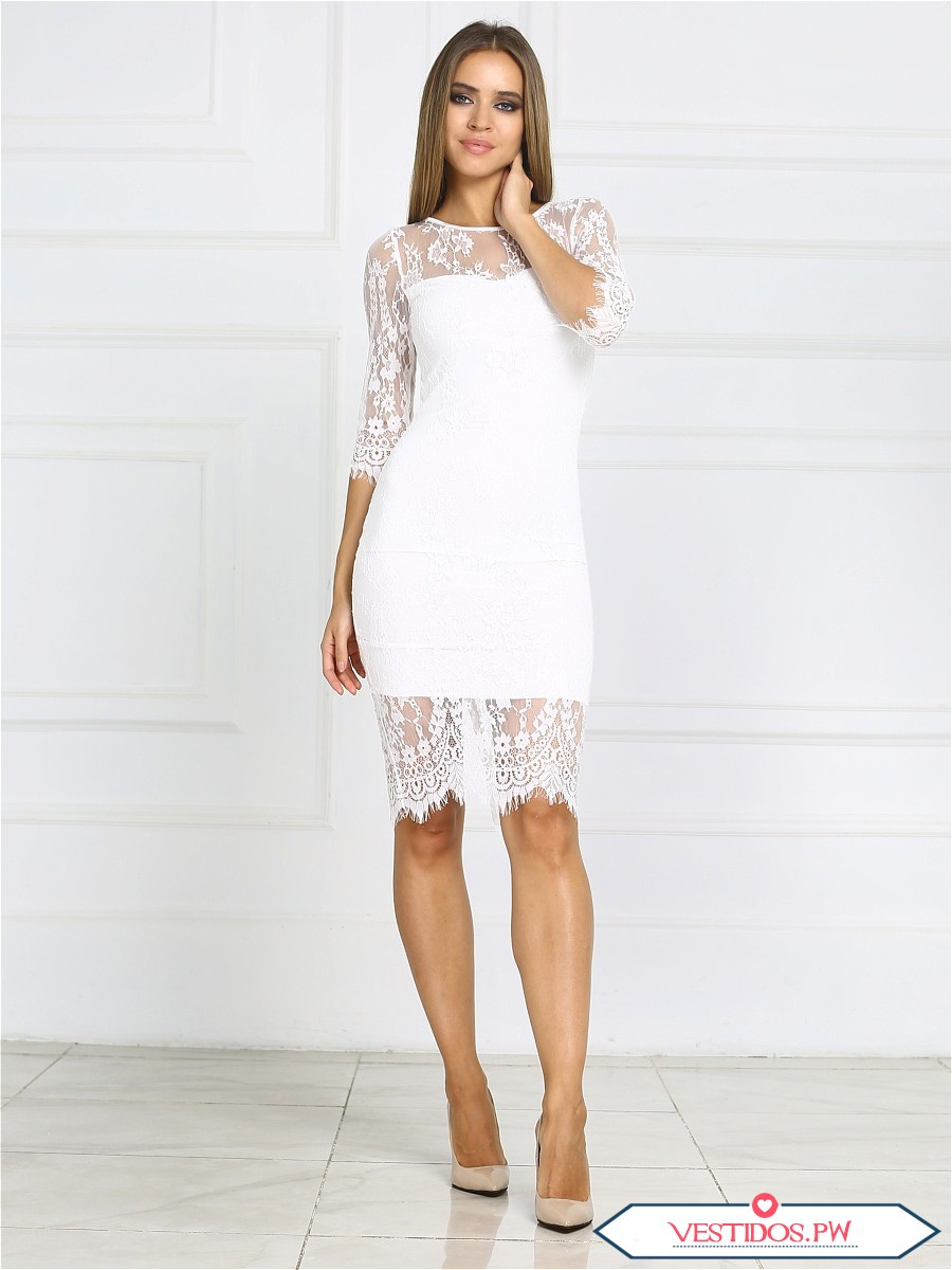 vestido blanco de encaje colecci n 2018 vestidos moda 2019 2020. Black Bedroom Furniture Sets. Home Design Ideas