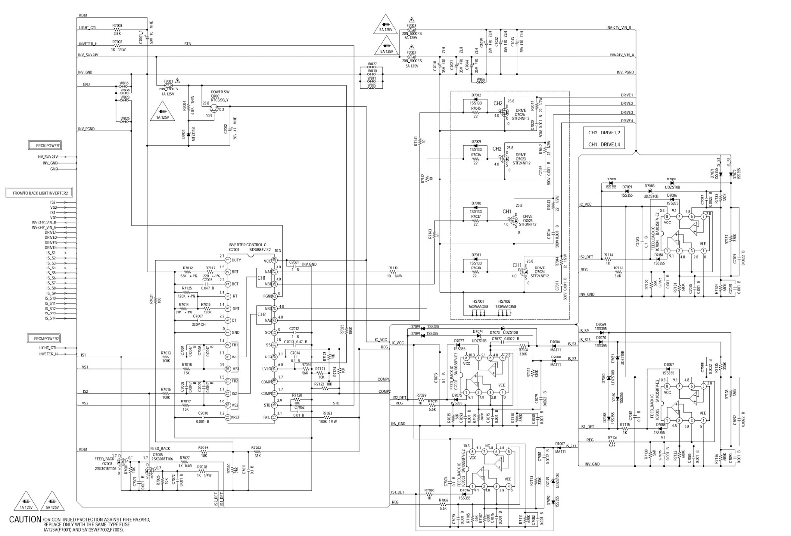 lcd monitor 193fw main power and backlight inverter schematic