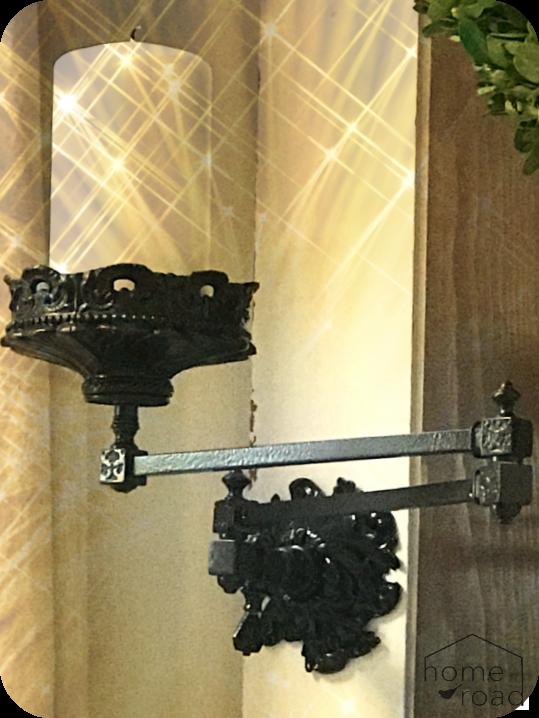 Repurposed vintage light fixture with sepia tone