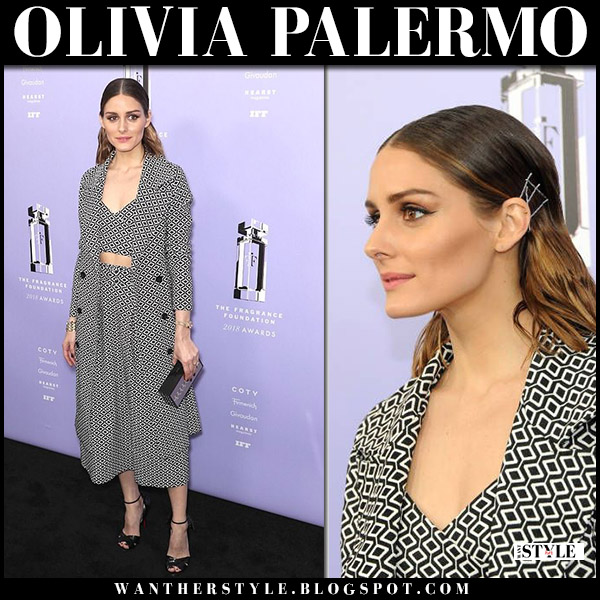 Olivia Palermo in black and white printed coat and skirt iorane red carpet style june 12