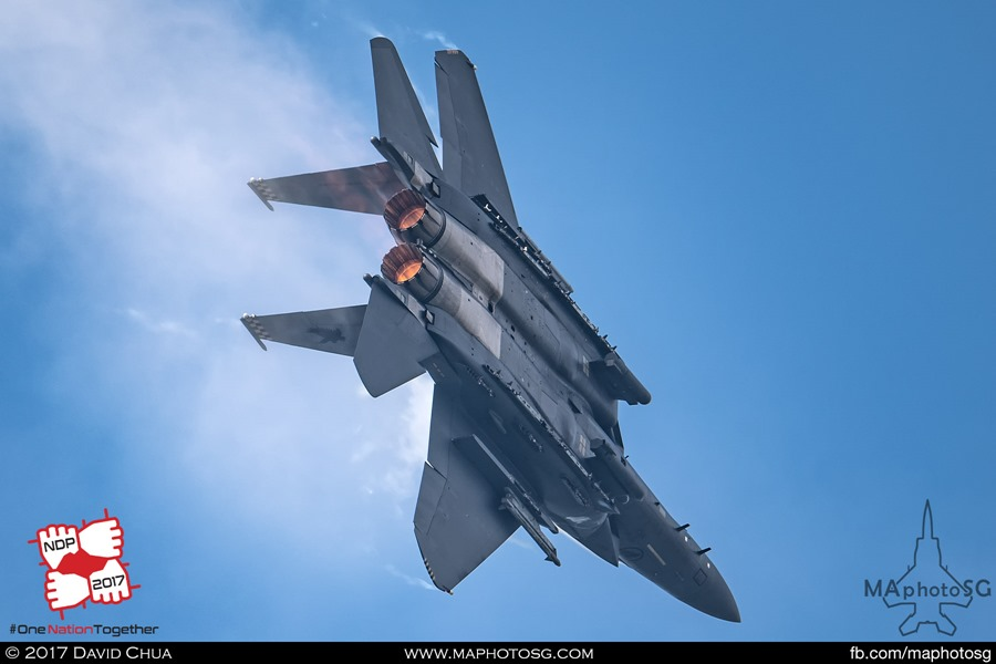 Solo F-15SG Strike Eagle performing high G turn