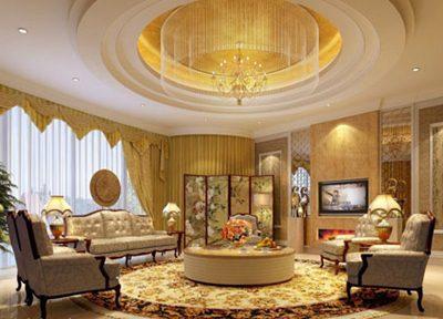 contoh desain ruang tamu warna gold terbaru - desain
