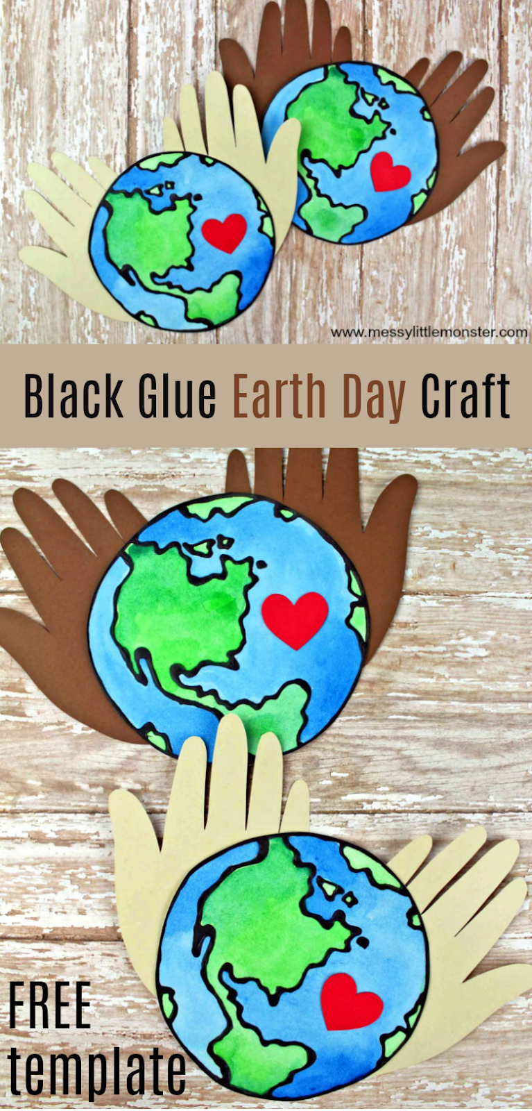 Black glue earth day craft - use the free earth printable template to make an easy planet earth craft for kids.