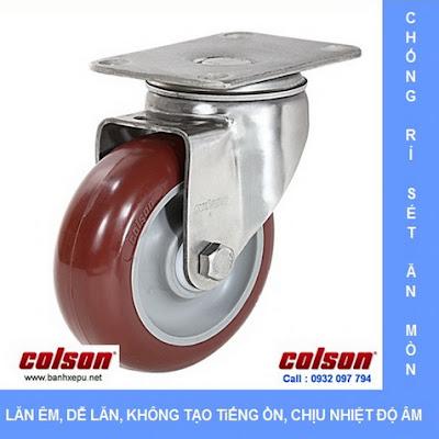 Bánh xe đẩy inox vật liệu bánh xe PU đỏ | 2-4456-944, bánh xe nhựa PU