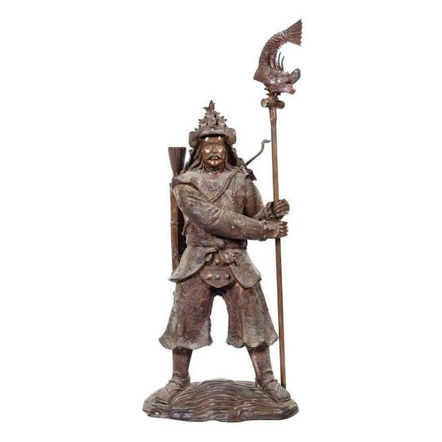 A large bronze figure of a samurai