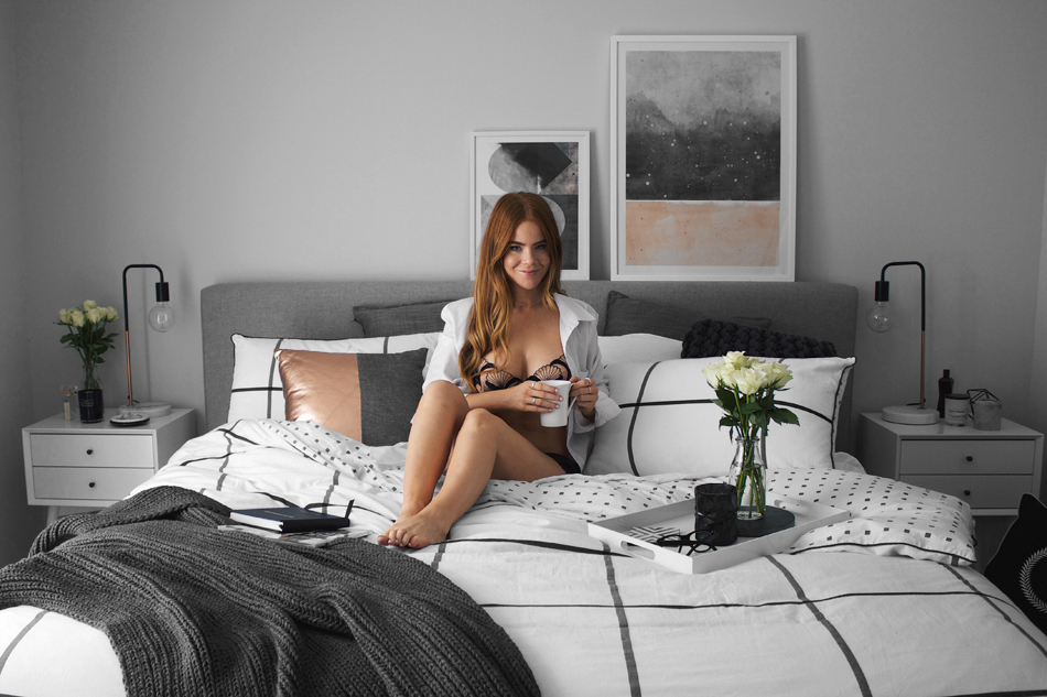 idylle range, luxury lingerie, bedroom interior, sunday morning