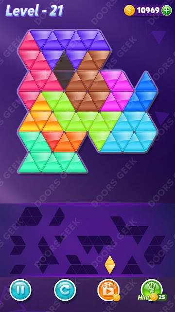 Block! Triangle Puzzle 12 Mania Level 21 Solution, Cheats, Walkthrough for Android, iPhone, iPad and iPod