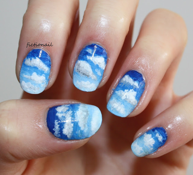 Cloudy Sky Blue Nail Art