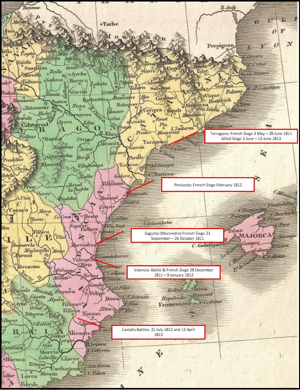 Map Of East Coast Of Spain.Jj S Wargames First And Second Battles Of Castalla 1812 1813