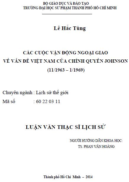 Các cuộc vận động ngoại giao về vấn đề Việt Nam của Chính quyền Johnson (11/1963 – 1/1969)