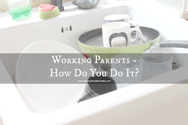 Working parents - how do you do it? Blog post about the struggles of working while raising a child - header photo with large sink full of dirty washing