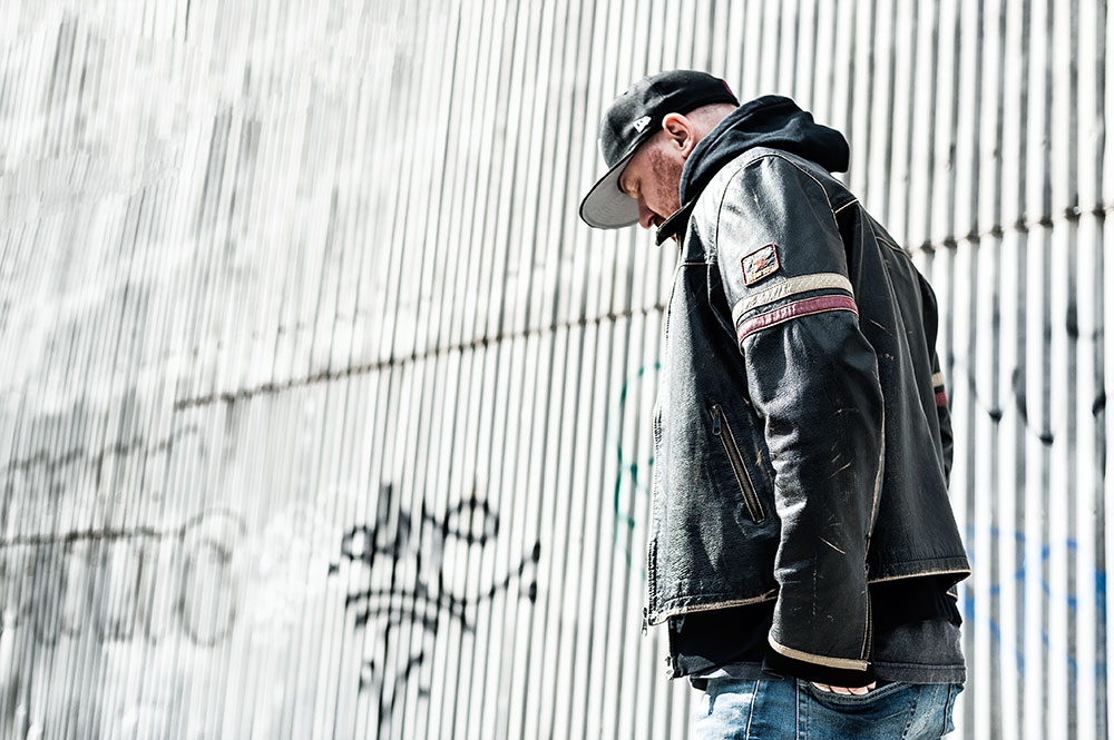 Energie 'Rod Knockers' Leather Biker Jacket / Denham The Jeanmaker Razor NISS Stone Wash Selvedge Jeans by Tom Cunningham