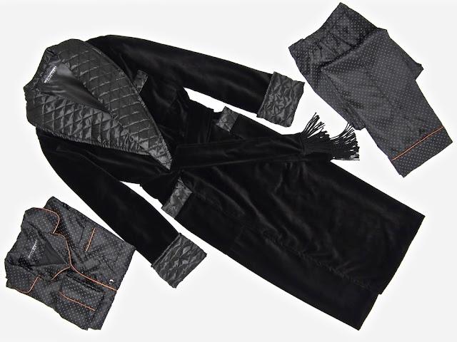 Men's black velvet robe dressing gown extra warm long quilted