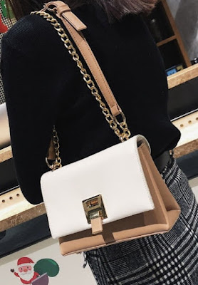 White Flap Faux Leather Mini Crossbody Bag with Metal Lock