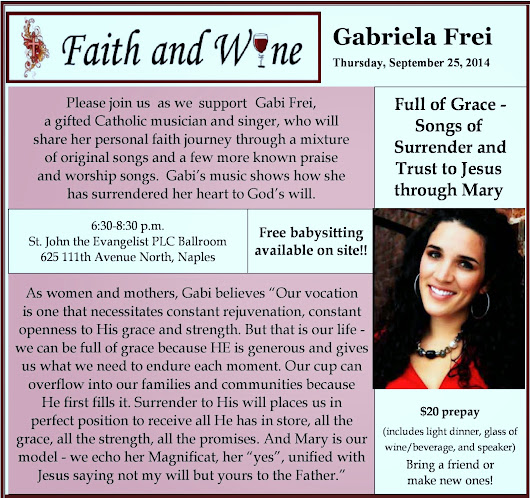 Gabriela Frei: Faith and Wine Event! PLEASE COME!
