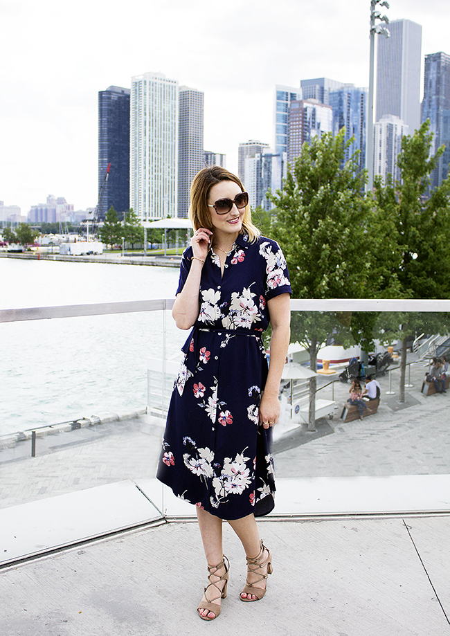 JustFab Belted Floral Shirt Dress