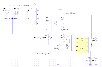 circuit diagram Time delay switch for mobile chargers