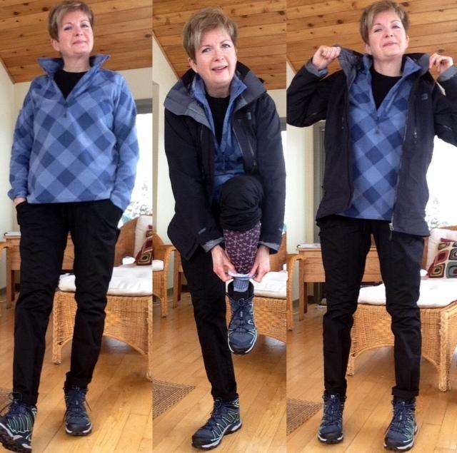 Salomon hiking boots, Gap short sleeved tee, Eddie Bauer fleece, MEC Gortex jacket, black cotton cargo pants