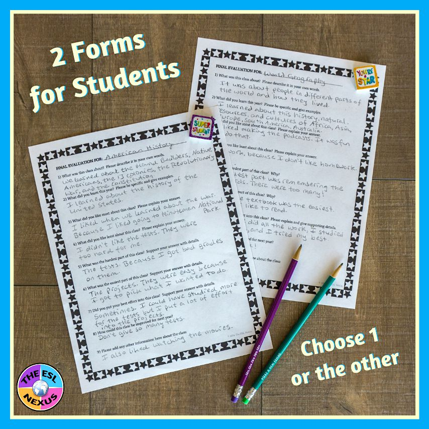 Let your students reflect on their learning at the end of the year with these final self-assessment forms #EndofYear #SummativeAssessment | The ESL Nexus