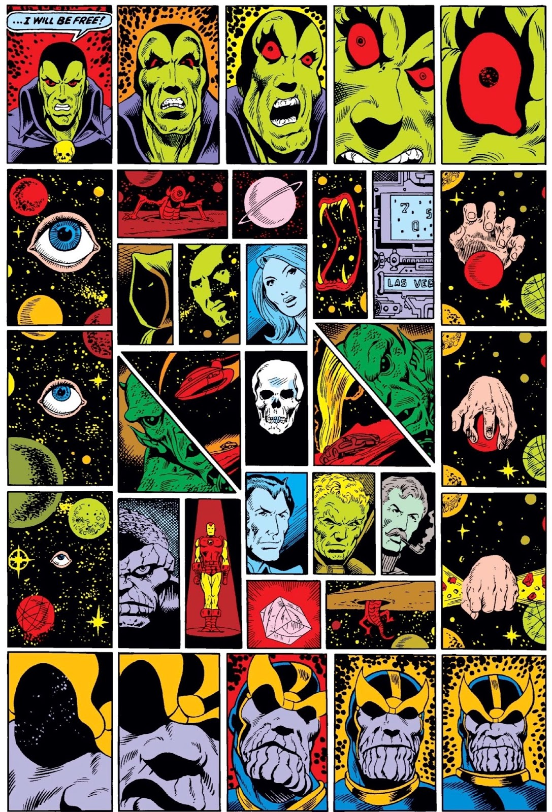 Full page of small panels, Drax's face growing distorted on top tier and Thanos' face doing opposite on bottom, in-between full of bizarre objects like disembodied eye and fanged mouth in cosmic landscape