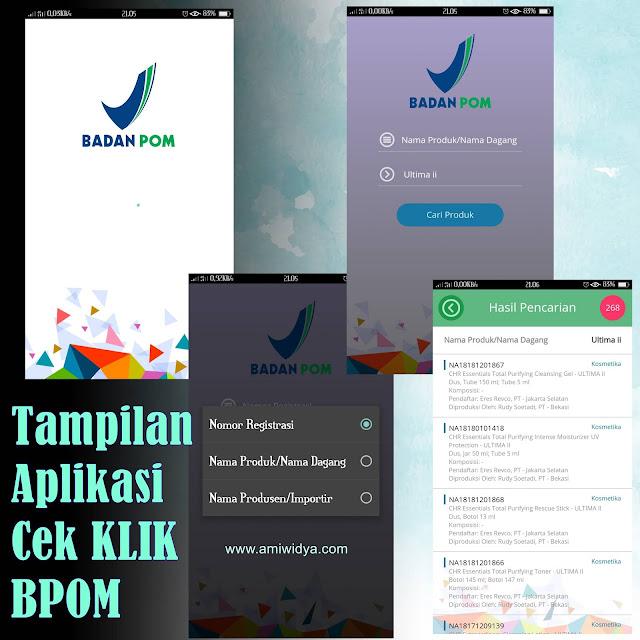 tampilan aplikasi cek klik bpom