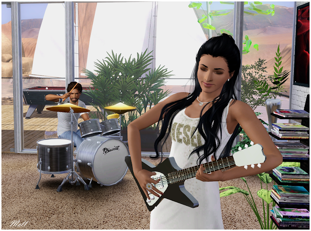 Two sims playing music