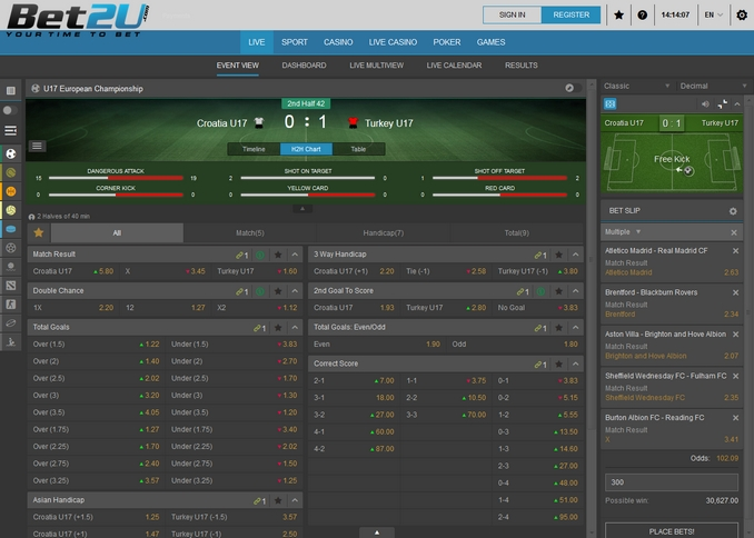 Bet2u Live Betting Screen