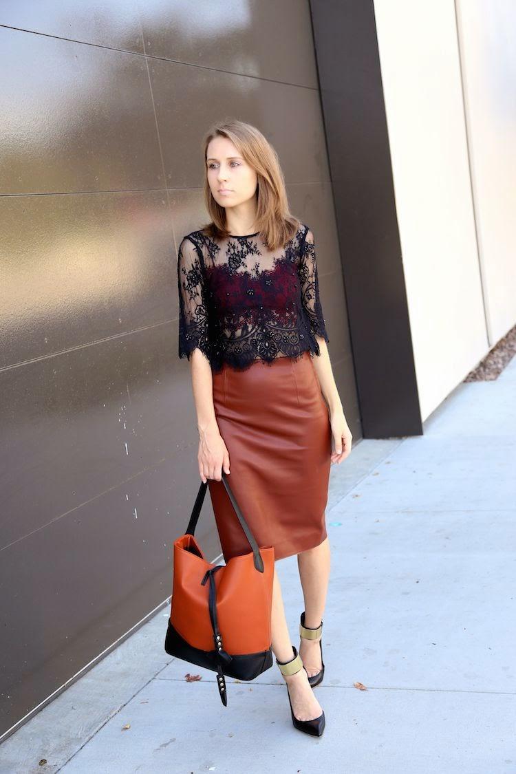 e293e0d435f Black lace top: Topshop. Burgundy crop top: Topshop. Skirt: Zara. Bag:  Culture Riot. Shoes: Marciano.