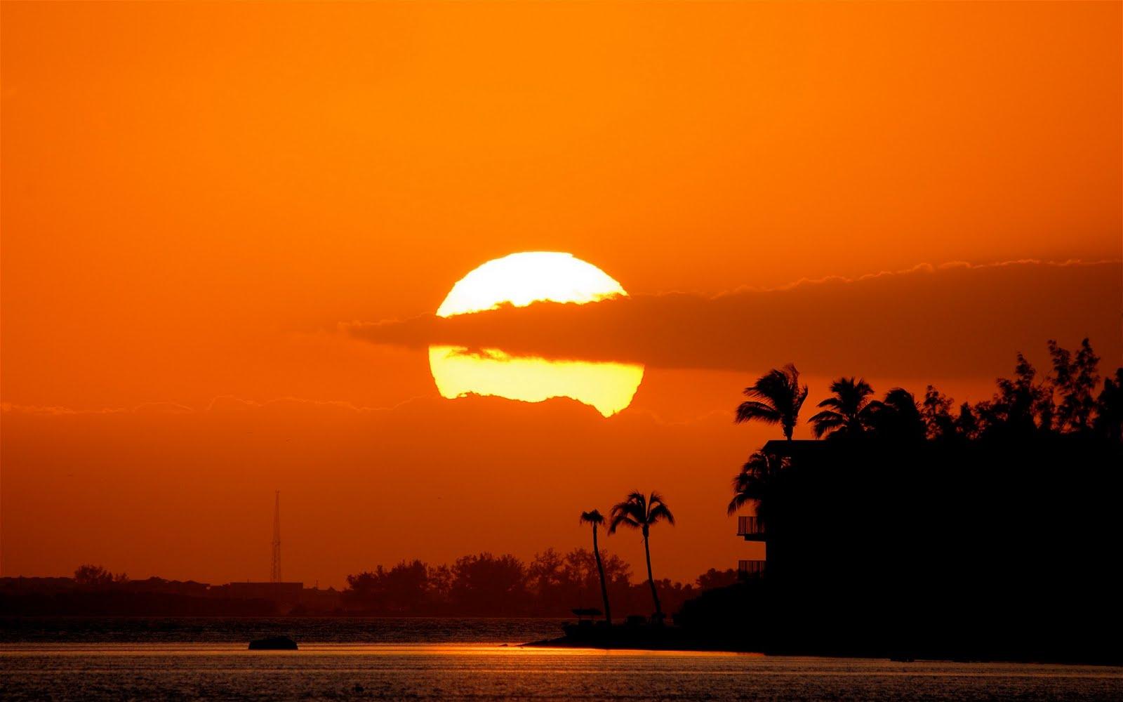 Imagem de Fundo  Pr do sol em tons laranja  Imagens de