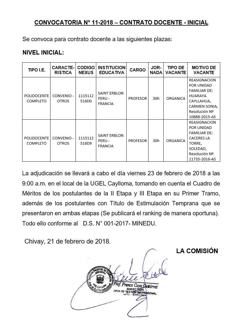 Convocatoria n 11 2018 contrato docente inicial for Convocatoria docente 2016