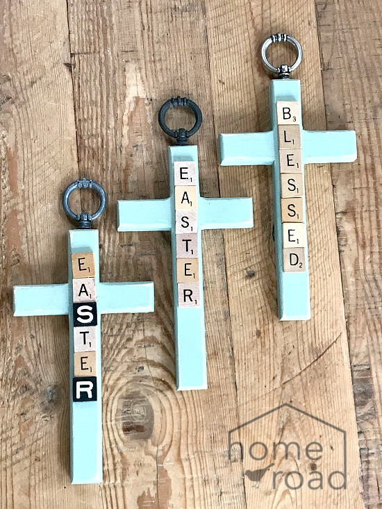 DIY Easter crosses with Scrabble letters
