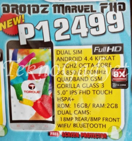 Torque Droidz Marvel, 5-inch FHD Octa Core KitKat For Php12,499