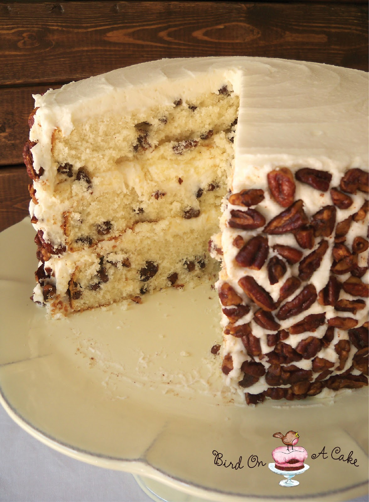 Butter Pecan Cake With Chocolate Icing