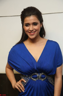 Mannara Chopra in Short Blue Dress at Rogue Movie Teaser Launch 1st March 2017 115.JPG
