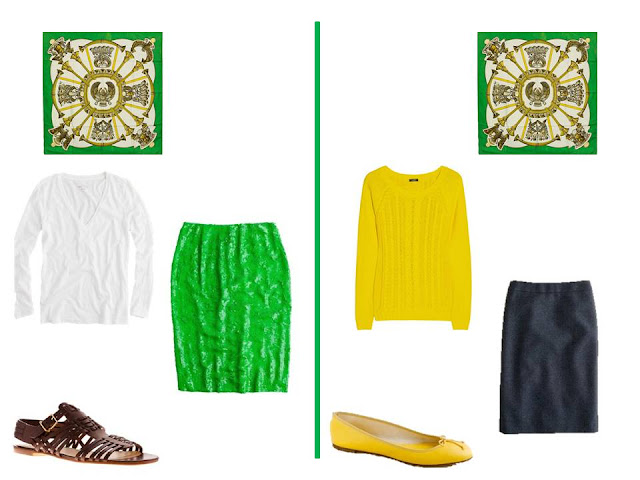 two outfits - a tee shirt and skirt, and a sweater and skirt - to wear with Hermes silk scarf Egypte in bright green