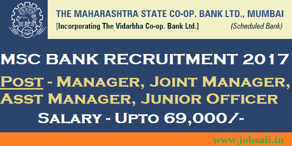 co operative bank manager recruitment 2017, msc bank online application, jobs in Mumbai