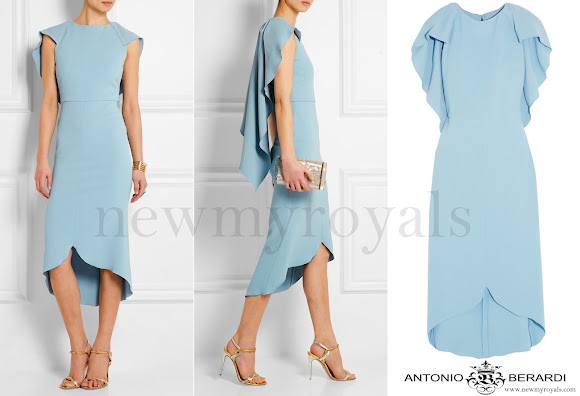 Princess Sofia wore Antonio Berardi Blue Cape-back Stretch crepe Dress