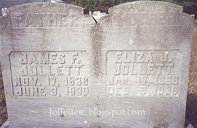 Tombstone of James F. and Eliza Jane Coleman Jollett Harriston Methodist Church Cemetery https://jollettetc.blogspot.com