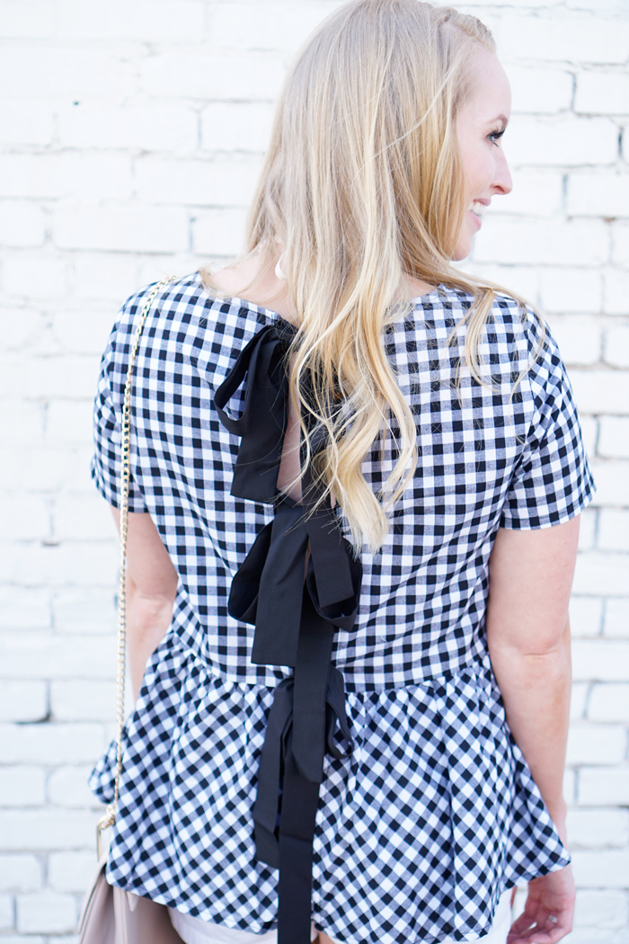 shein gingham top, shein review, bow tops, Chloe drew dupe, bow wedges, strawberry chic